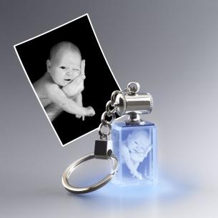 porte-clefs lumineux bleu rectangle avec photo