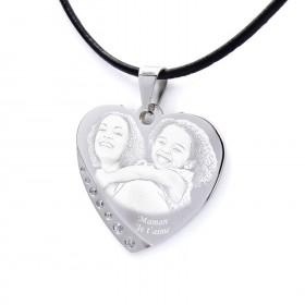 pendentif coeur avec strass personnalisé photo