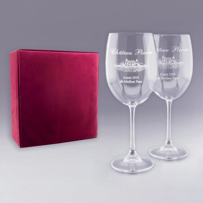 """Coffret 2 Verres à Vin """"Château"""""""
