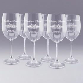 """6 Verres à Vin """" Château """" personnalisable"""