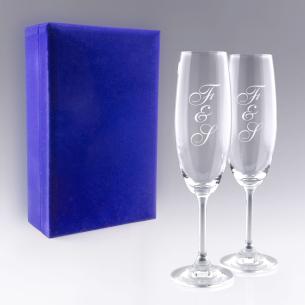 """Coffret Flûtes à Champagne """"Initiales"""" pour  Gravez vos initiales s..."""