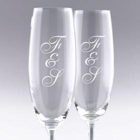 """Coffret Flûtes à Champagne """"Initiales"""" à graver avec vos initiales"""