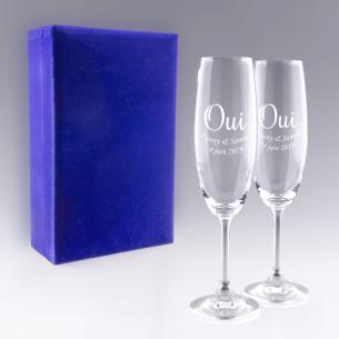 """Coffret Flûtes à Champagne """"OUI"""" pour  Gravezle texte de votre cho..."""