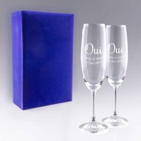 """Coffret Flûtes à Champagne """"OUI"""" personnalisable"""