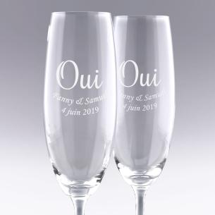 6 Flûtes à Champagne OUI pour  Partagez votre bonheur avec ces flût...