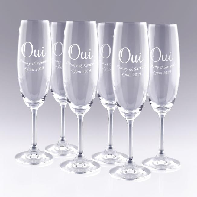 6 Flûtes à Champagne OUI - Cadeau personnalisé Zephyr