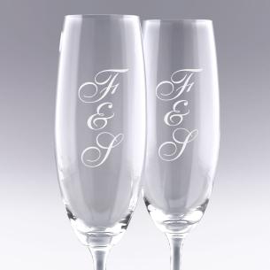 6 Flûtes à Champagne Initiales pour  Gravez vos initiales sur ces 6...