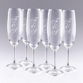 6 Flûtes à Champagne Initiales à personnaliser