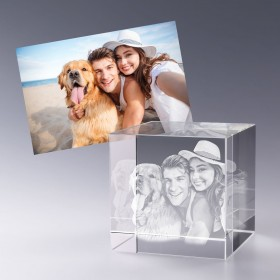 Cube 8 cm - gravure photo 3D