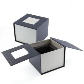 boite cadeau cube verre 10 cm - Gravure photo 3D