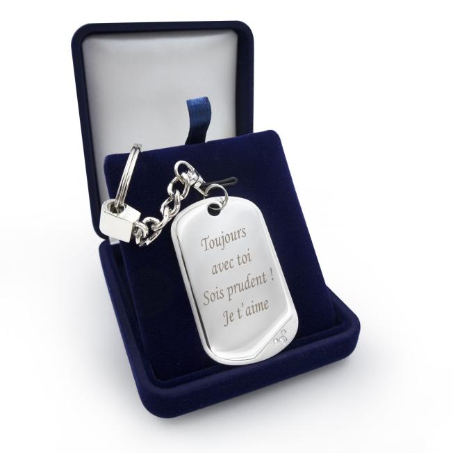 Porte-clés Plaque Argentée avec Texte pour  Personnalisez ce porte-...