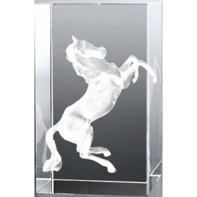 Bloc en verre gravure 3D Cheval
