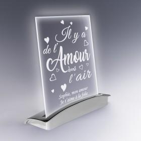 Plaque Lampe Amour en Verre