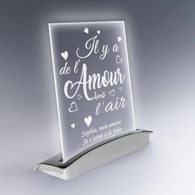 Plaque Lampe Amour en Verre pour  Il y a de l'amour dans l'air ! Af...