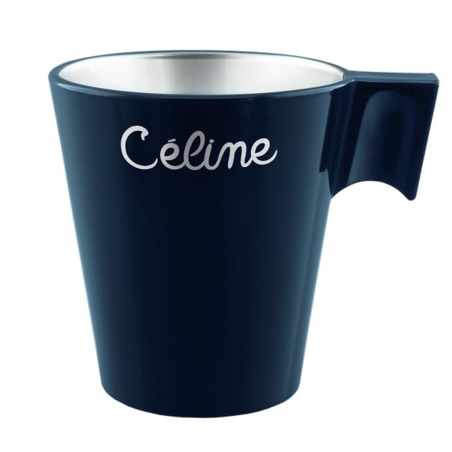 Mug Luminarc Bleu Pétrole en Verre Effet Métal Personnalisé avec un prénom