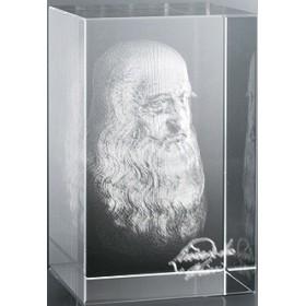 Bloc en verre gravure 3D De Vinci