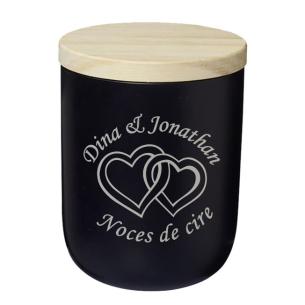 Trouvez l'Idée Cadeau Parfaite – Bougie Noire Personnalisée Cœurs
