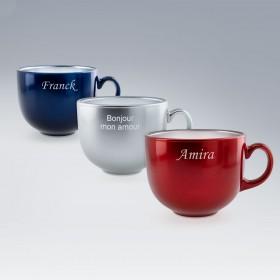 Collection Tasses Jumbo Luminarc personnalisables en verre bleu, rouge et argent