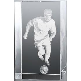 Bloc en verre gravure 3D Footballeur