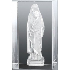 Bloc en verre gravure 3D Vierge à l'Enfant