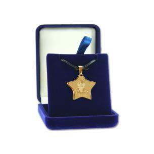pendentif étoile dorée avec photo gravée - Ecrin cadeau
