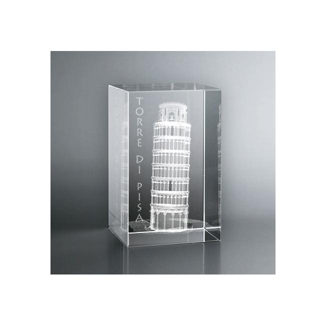 Bloc en verre gravure 3D Tour de Pise