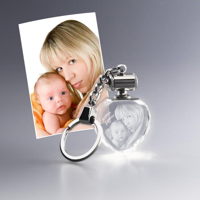 Porte-clés lumineux verre avec photo
