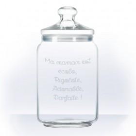 bonbonniere en verre personnalisée avec texte