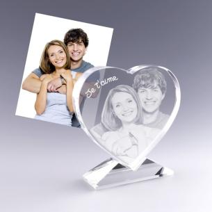 coeur en verre gravé avec votre photo - idéal cadeau amour