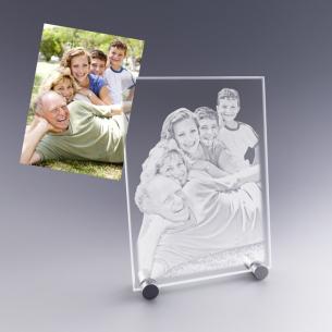 cadeau plaque photo en verre sur pieds métal