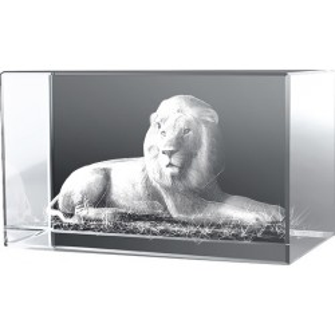 Bloc en verre avec une gravure 3D d'un Lion