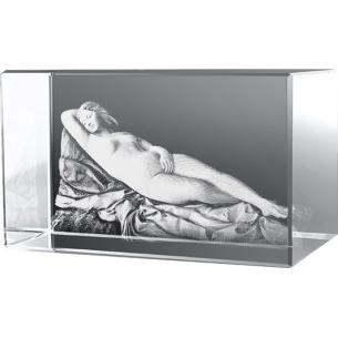 Bloc en verre gravure 3D La Vénus Endormie, Giorgione