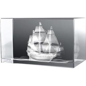 Bloc en verre gravure 3D Clipper