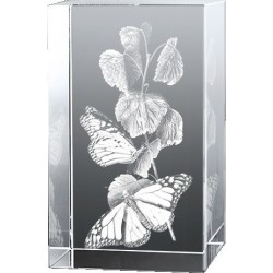 Bloc en verre gravure 3D Papillon