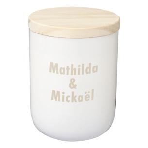 Bougie blanche avec couvercle en bois gravée avec votre texte