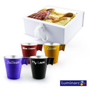 Photo couleur sur coffret cadeau de 4 tasses Luminarc - Fabrication Française