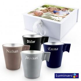 Set de 4 mugs dans coffret cadeau photo