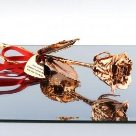 rose en Or rose 18 carats personnalisée avec texte - Idéale cadeau de mariage ou Saint-Valentin