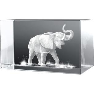 Bloc en verre gravure 3D Eléphant