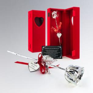 Rose véritable recouverte d'argent 999 millième - Livrée dans son bel écrin en velours rouge