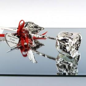 rose en argent personnalisée avec texte - Idéale cadeau de mariage ou Saint-Valentin