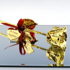 rose en Or 18 carats personnalisée avec texte - Idéale cadeau de mariage ou Saint-Valentin