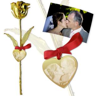 Rose en or personnalisée avec photo et texte