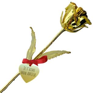 cadeau noces d'or - rose en or personnalisée