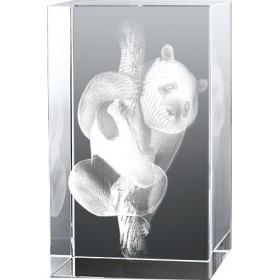 Bloc en verre gravure 3D Panda