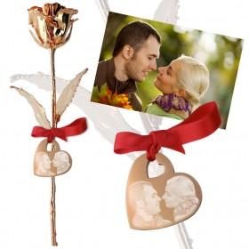Rose en or rose personnalisée avec photo et texte