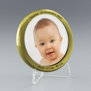 Médaille dorée avec impression photo couleur - Idéale Faire-part original