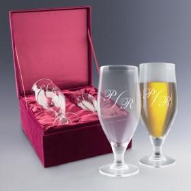 Coffret cadeau de verres à bière personnalisés avec vos initiales
