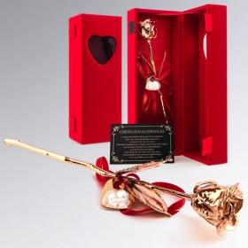 Rose en Or rose 18 carats dans coffret cadeau en velours rouge personnalisée avec photo