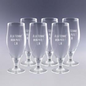 6 verres à bière gravés au texte de votre choix